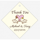 The Sweetest Bride and Groom Love Birds Personalised Wedding Favour Thank You Tag & Sticker