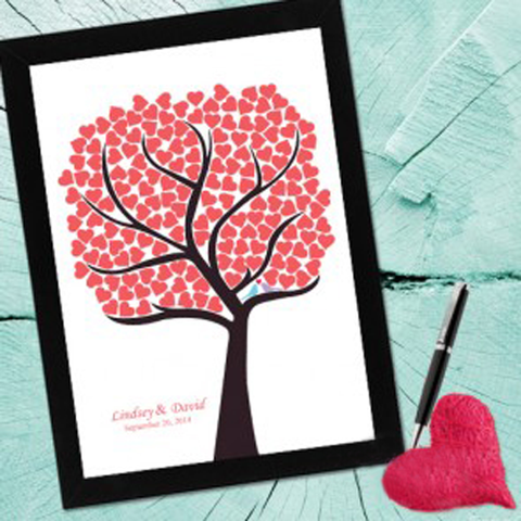Tree of Heart & Soul Personalised Framed Wedding Guest Book Poster