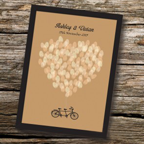 Vintage Tandem Bicycle Fingerprint Balloons Personalised Wedding Guest Book Alternative with Frame