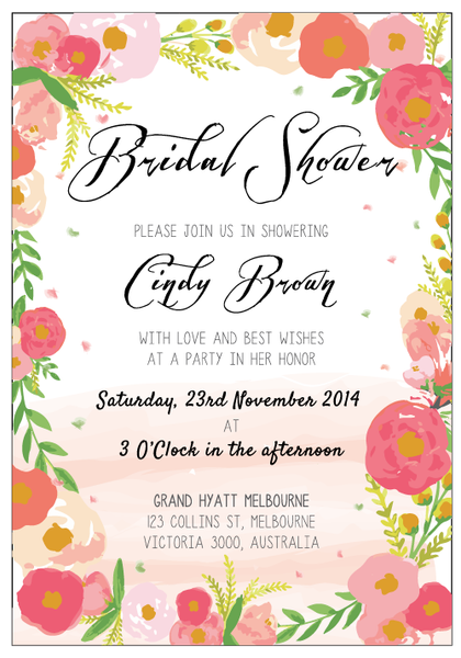 Vintage Floral Bridal Shower Customized Wedding Invitation Card