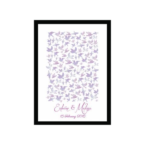 Watercolour Love Birds Personalised Wedding Guest Book Alternative - Violet Pink