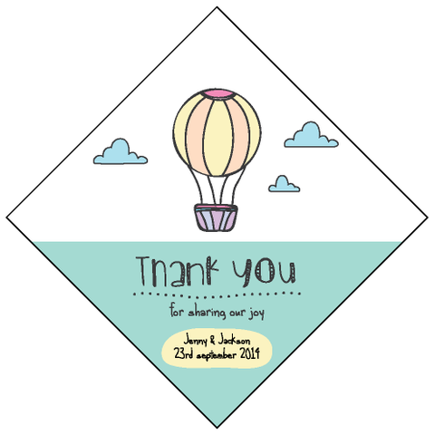 Hot Air Balloon Wedding Personalised Wedding Favour Thank You Tag & Sticker - AUSTRALIAN FAVORS