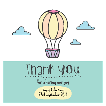 Hot Air Balloon Personalised Wedding Bomboniere Thank You Gift Tag & Sticker - AUSTRALIAN FAVORS