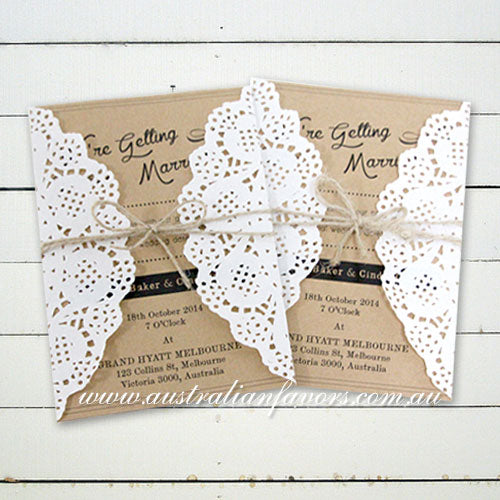 We're Getting Married Rustic Kraft Wedding Invitation Card