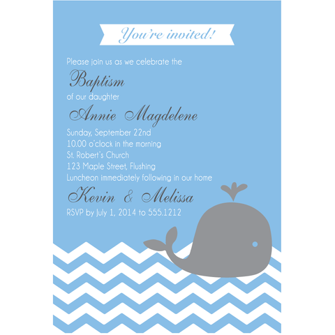 Whale Baptism Christening Baby Shower Customized Invitation