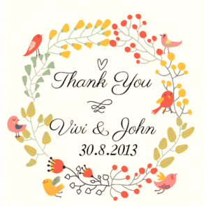 Whimsical Birdie Wedding Favour Thank You Gift Tag & Sticker