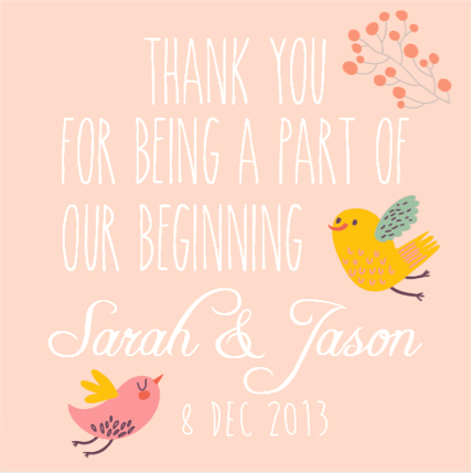 Whimsical Birdie Wedding Favour Thank You Gift Tag & Sticker - AUSTRALIAN FAVORS