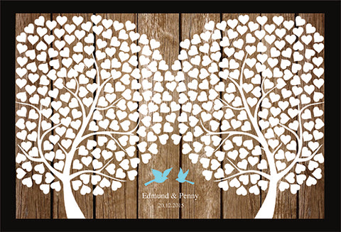 Woodland Double Trees & Love Birds on Wooden Background Personalized Wedding Guest Book Alternative