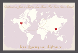 Love Knows No Distance' Personalised Map Wedding Guest Book Alternative - Lavender Blush & Gold