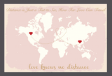Love Knows No Distance' Personalised Map Wedding Guest Book Alternative - Pink & Gold
