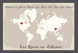 Love Knows No Distance' Personalised Stone Coloured World Map Wedding Guest Book Alternative