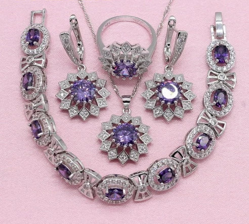Noble Purple Elegant Jewelry Set