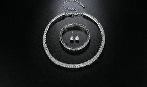 Silver Circle Crystal Jewelry Set