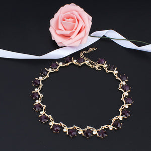 Fashion Resin purple Gold Jewelry Set