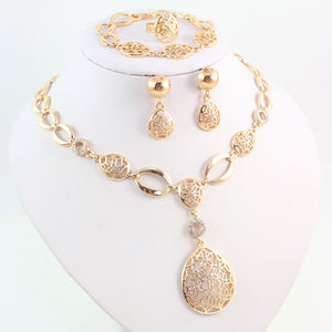 Fashion Water Drop Clear Crystal Jewelry Set