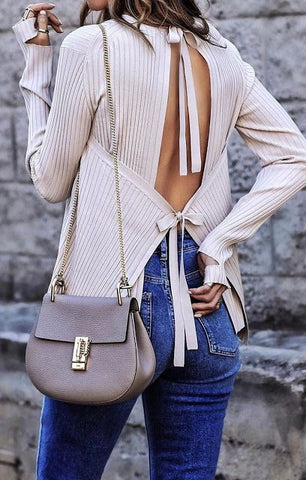 Cream Tie-Back Knit Sweater