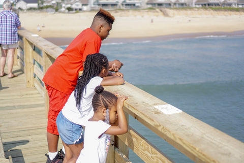 My kids and nephew enjoying the pier