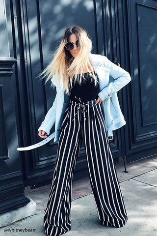 Black and White Striped Drawstring Pants
