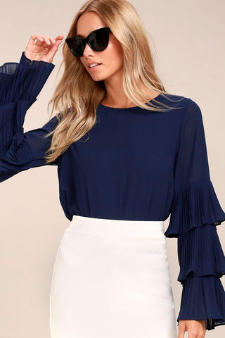 Navy Blue Long Sleeve Flutter Top