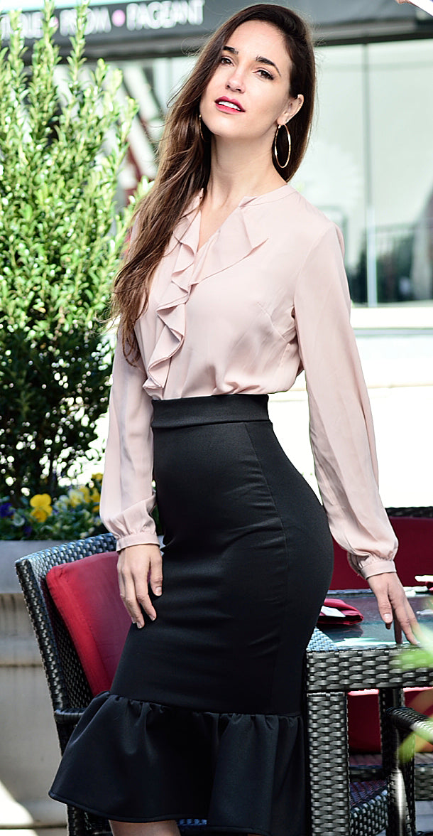 Flared Hem Pencil Skirt - Rhonda Lynette