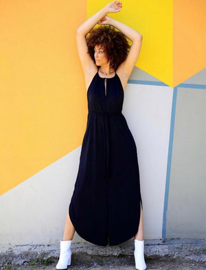 Open Leg Jumpsuit-Black