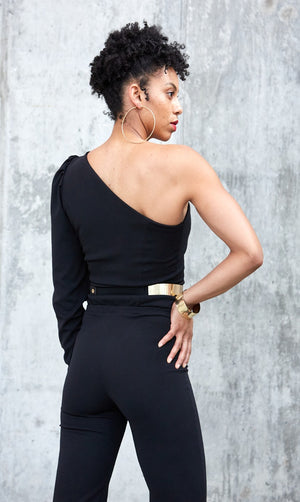 Puff Sleeve Jumpsuit- Black