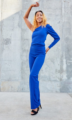 Puff Sleeve Jumpsuit- Royal Blue