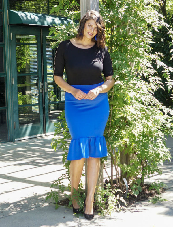 Flare Hem Pencil Skirt- Blue