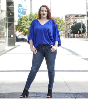 Oversized Batwing Top-Blue