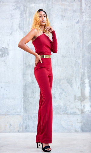 Puff Sleeve Jumpsuit- Burgundy