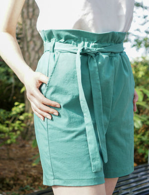 Twill Paper Bag Shorts- Green