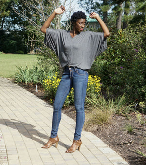 Oversized Batwing Top- Charcoal Grey