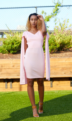 Cape Sleeve Dress- Baby Pink