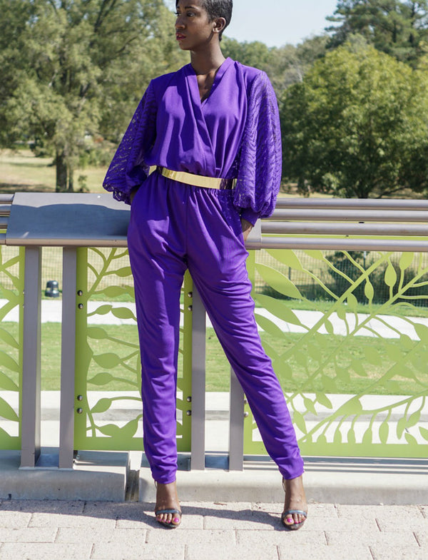 Balloon Sleeve Jumpsuit-Royal Purple