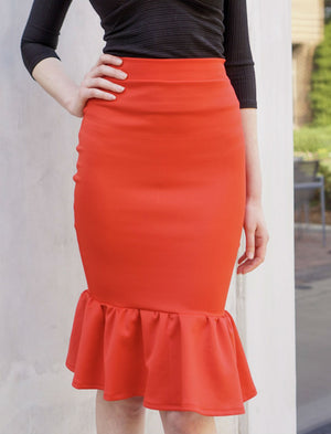 Flare Hem Pencil Skirt- Red