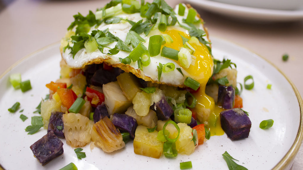 Sweet Potato Hash with Pineapple and Egg