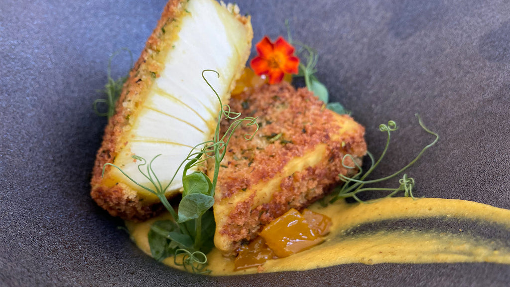 Herb Crusted ʻUlu with ʻUlu Vadouvan & Pickled Mango Chutney
