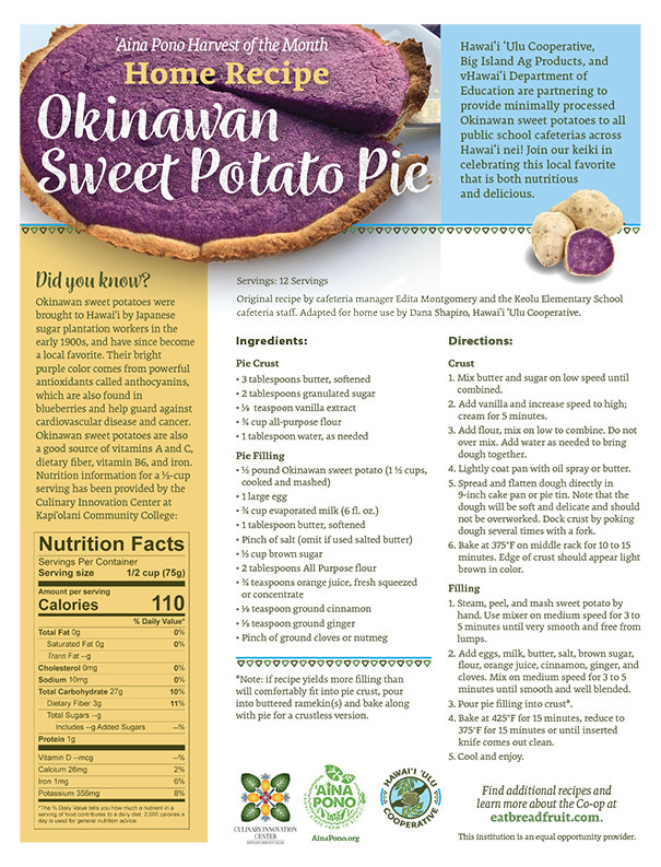 Recipe: Okinawan Sweet Potato Pie