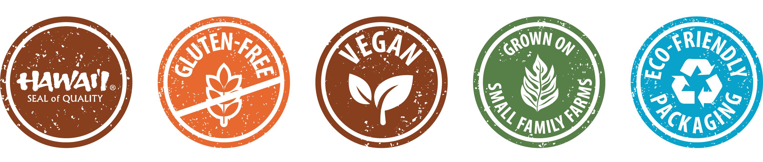 icons: hawaii seal of quality, gluten-free, vegan, grown on small family farms, eco-friendly packaging