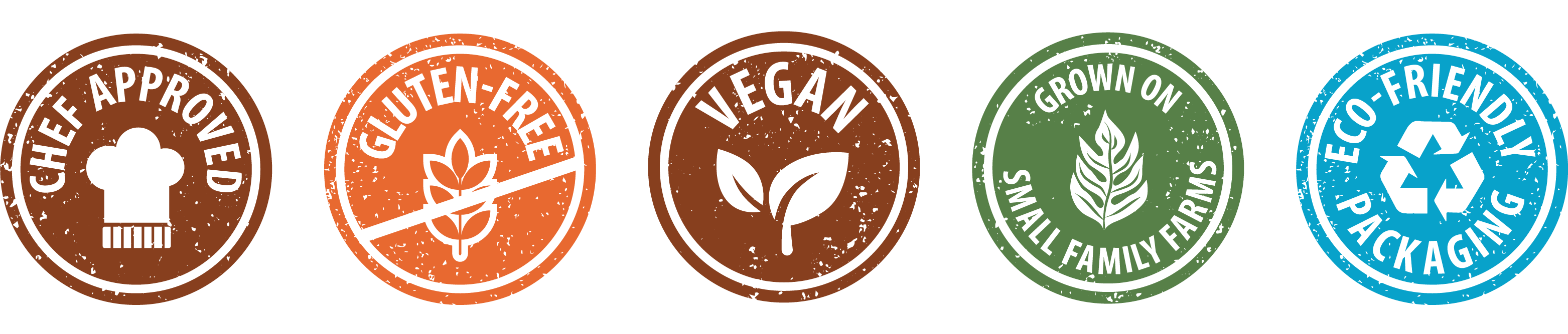 chef approved, gluten-free, vegan, grown on small family farms, eco-friendly packaging