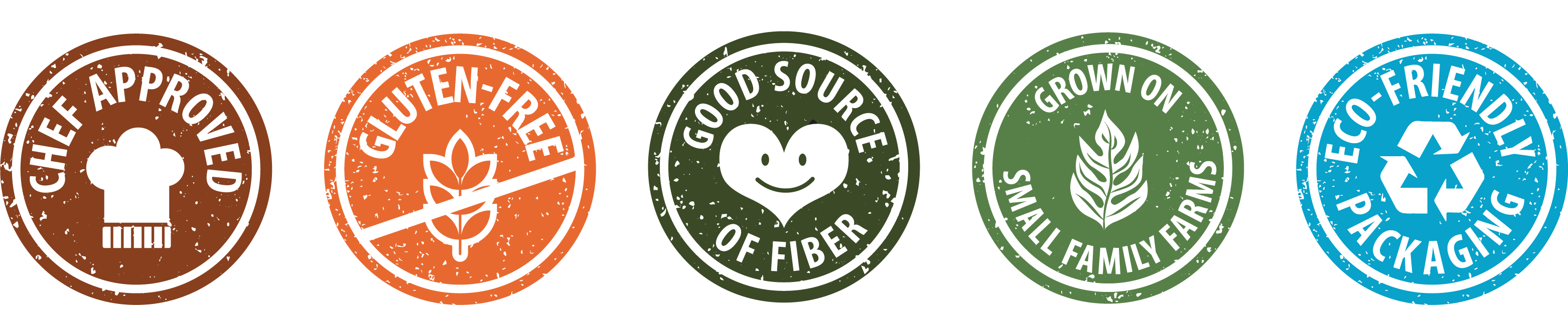 chef approved, gluten-free, good source of fiber, grown on small family farms, eco-friendly packaging