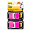 Post-it Flags 680-BP2 Twin Pack Bright Pink 25 x 43mm 50/Dispenser, 2 Dispensers/Pk