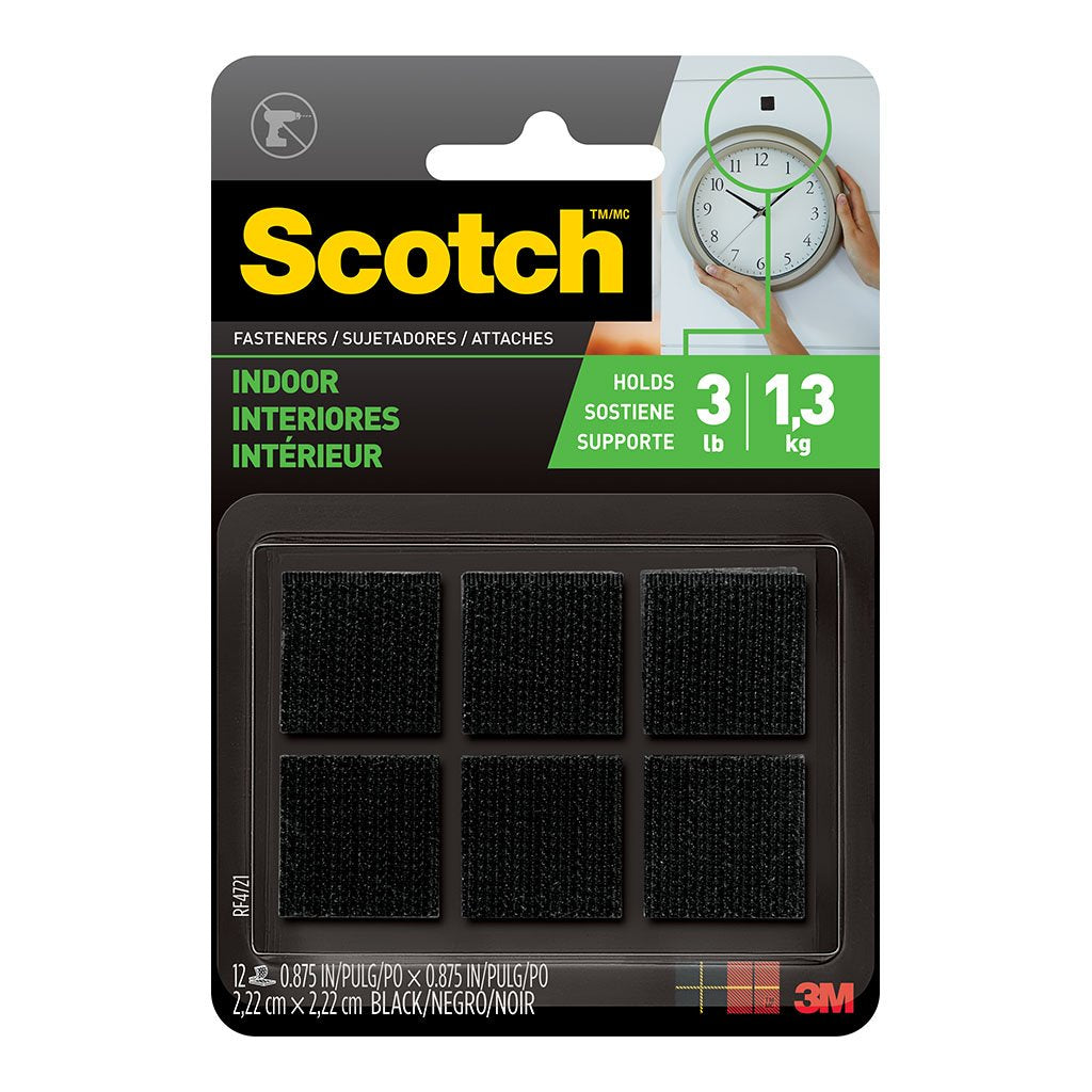 Scotch Fastener RF4721 Indoor 22mm x 22mm Black Pk/6 Sets