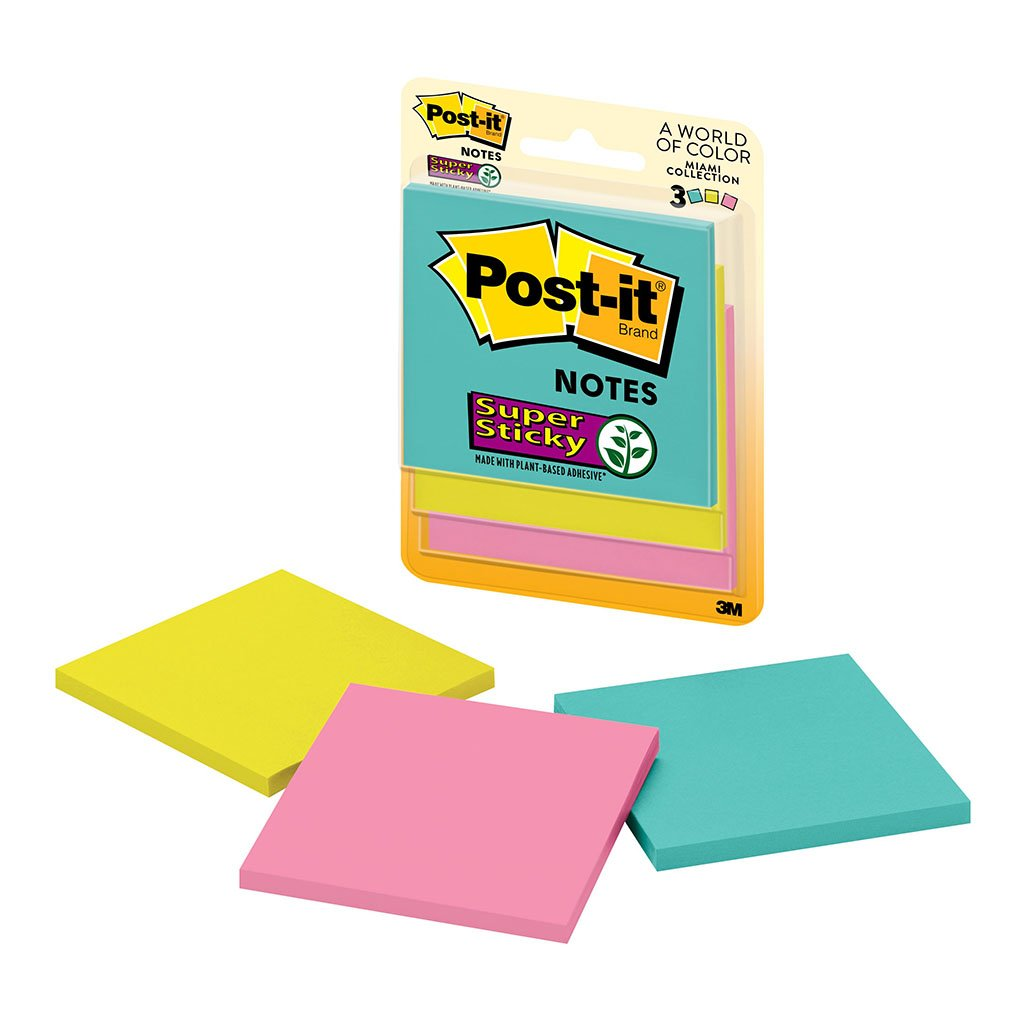 Post-it Super Sticky Miami 3321-SSMIA 76x76mm 45 sheet pads Pkt/3