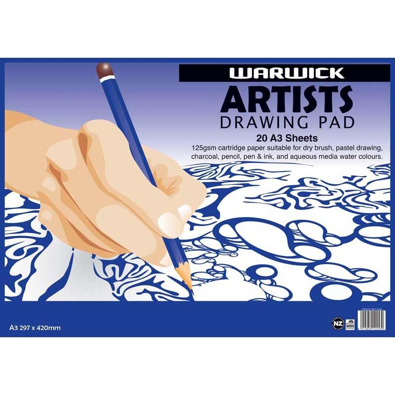 Warwick Pad A3 Artists Drawing 20 Leaf 125gsm