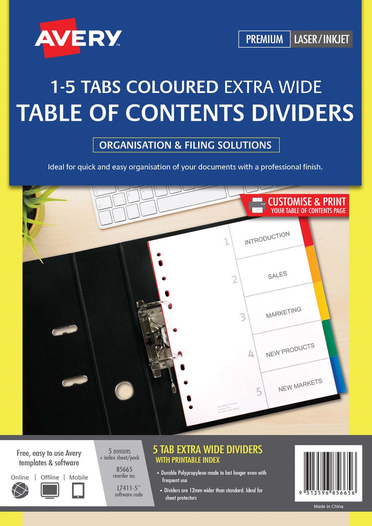 Avery Dividers A4 5 Tab Coloured Pp Extra Wide