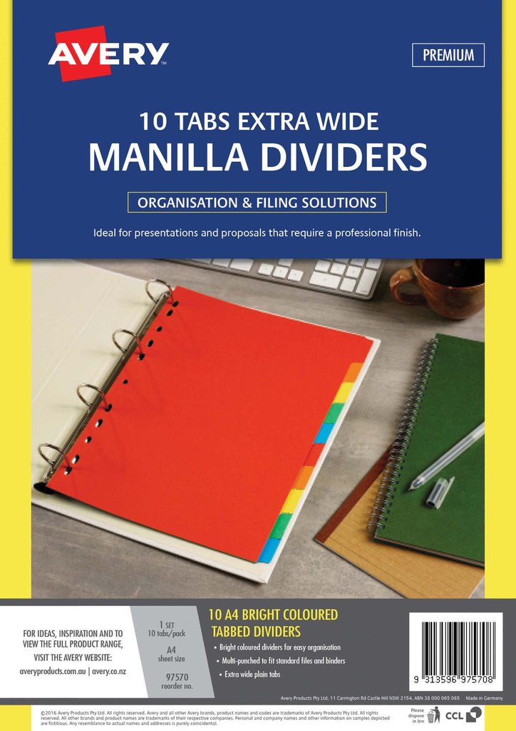 Avery Dividers A4 10 Tab Coloured Manilla Extra Wide