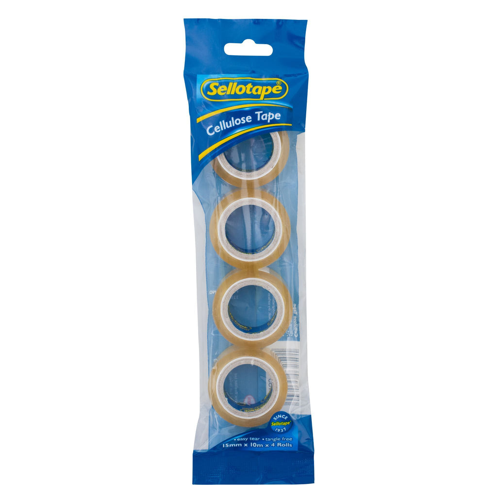 Sellotape 32504 Cellulose Tape 4 Pack 15mmx10m