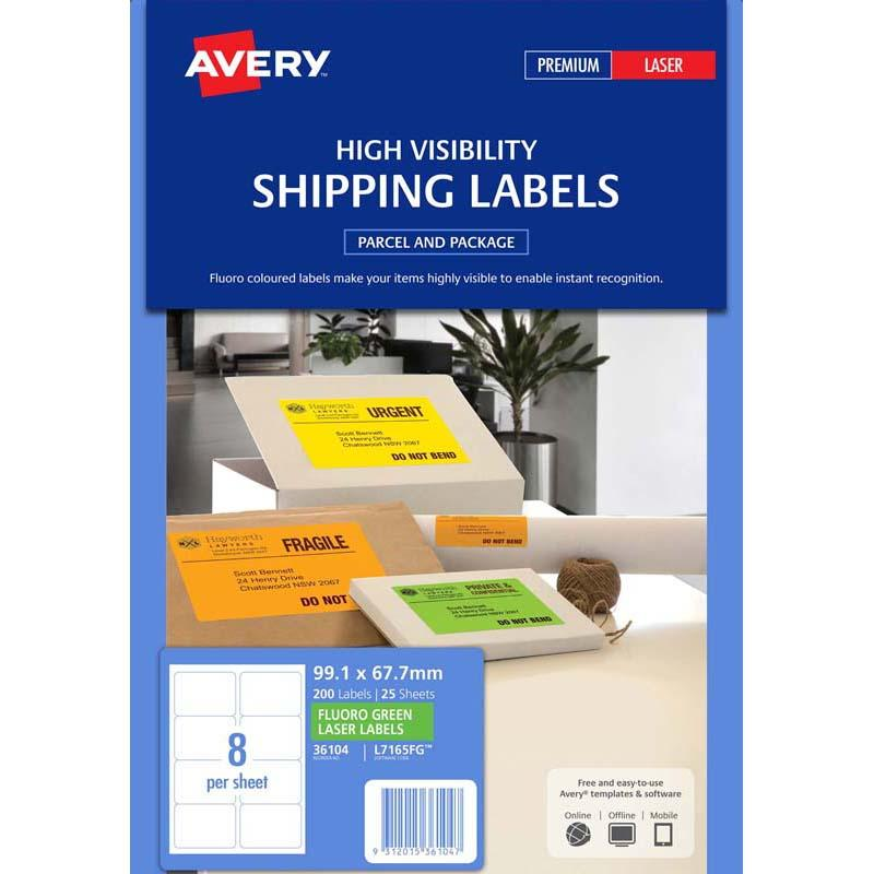 Avery Shipping Label L7165FG Fluoro Green 8 Up 25 Sheets 99.1x67.7mm