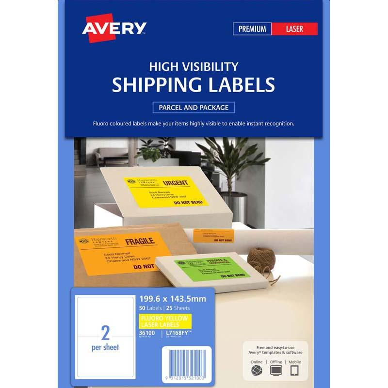 Avery Shipping Label L7168FY Fluoro Yellow 2 Up 25 Sheets 199.6x143.5mm